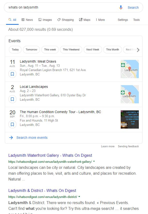 Google event search
