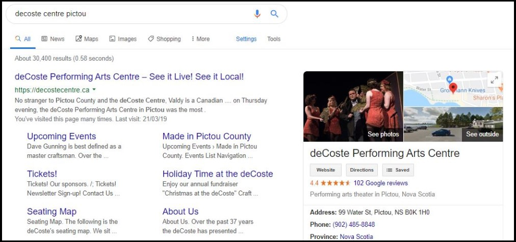 Search result DeCoste Performing Arts Centre