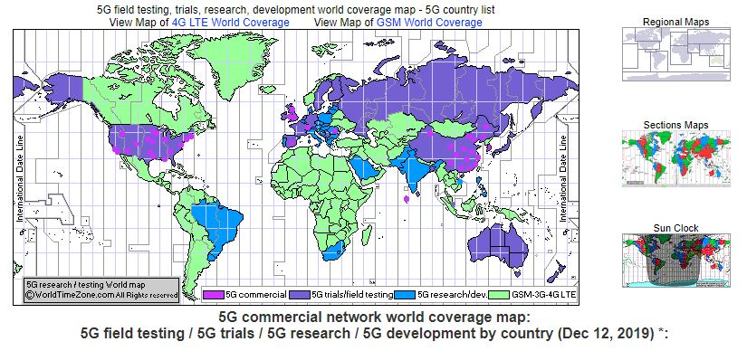 Global map of 5G development