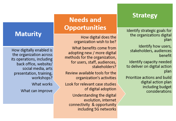 3-step process from digital maturity to digital needs and opportunities to digital strategy