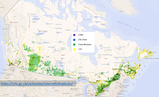 Map of Canada's broadband network 2020